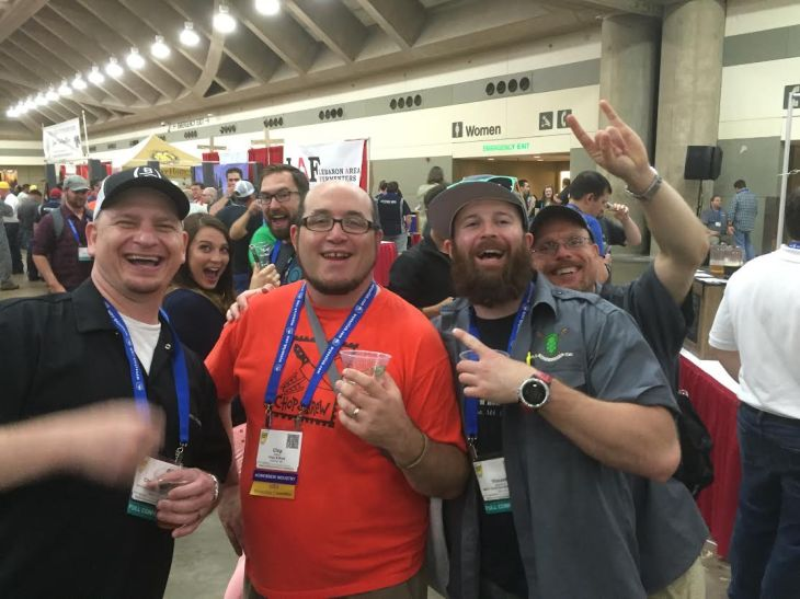 Chris, Chip from Chop & Brew, me, and JD with some photobombers